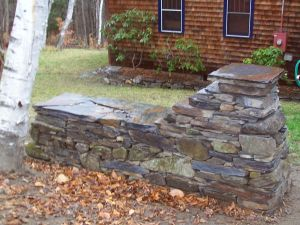 Freestanding Wall, Slate and Fieldstone Mix
