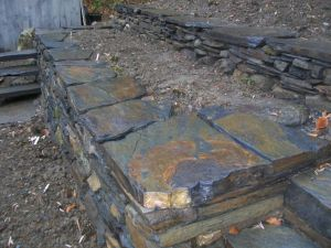Terraced Retainer Walls, Slate and Fieldstone Mix