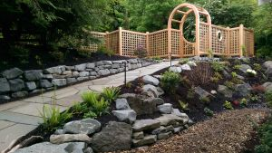 Pennsylvania Blue Treds, Columbia Blue Granite Wall, Gardens by Kim and Trellis by RJ